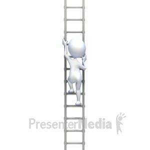 ID# 2518 - Stick Figure Climbing Tall Ladder - Presentation Clipart