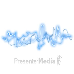 ID# 2532 - Blue Glowing Sound Waves - Presentation Clipart
