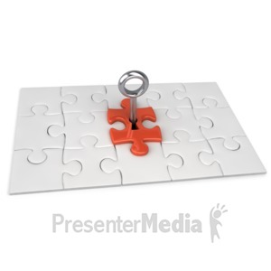 ID# 2536 - Red Square Puzzle Key - Presentation Clipart