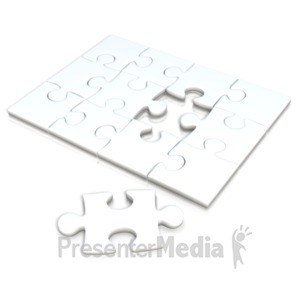 ID# 2553 - White Square Puzzle Separate Piece - Presentation Clipart