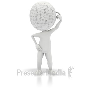 ID# 2565 - Puzzle Head Thinking - Presentation Clipart