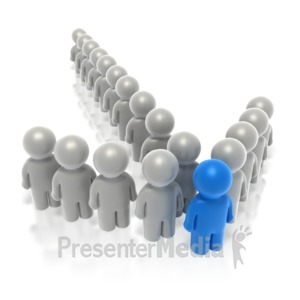 ID# 2586 - Blue Leader People Arrow  - Presentation Clipart
