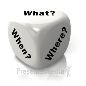 ID# 2608 - What When Where White Dice - Presentation Clipart