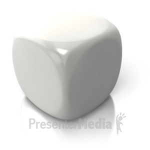 ID# 2611 - Blank White Dice - Presentation Clipart