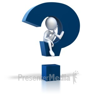 ID# 2623 - Stick Figure Sitting In Question Mark - Presentation Clipart