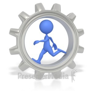 ID# 2628 - Stick Figure Running In Gear  - Presentation Clipart