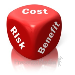 ID# 2631 - Cost Benefit Risk Red Dice - Presentation Clipart