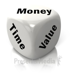ID# 2636 - Money Time Value White Dice - Presentation Clipart