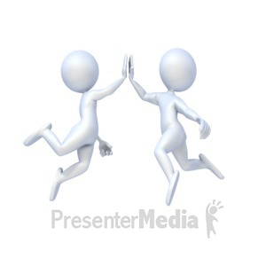 ID# 2654 - Figures Give High Five - Presentation Clipart