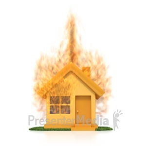 ID# 2668 - House On Fire  - Presentation Clipart