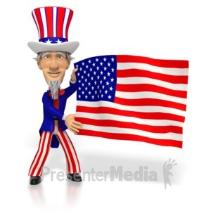 ID# 2676 - Uncle Sam Holding American Flag  - Presentation Clipart