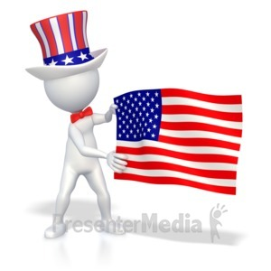 ID# 2690 - Stick Figure Holding American Flag  - Presentation Clipart
