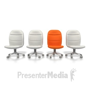 ID# 2699 - Orange Chair Standing Out  - Presentation Clipart