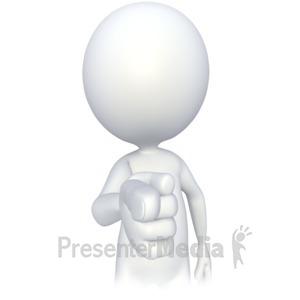 ID# 2714 - Stick Figure Finger Point  - Presentation Clipart