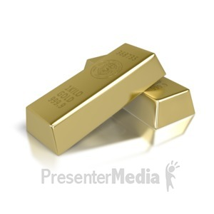 ID# 2721 - Two Gold Brick Bars - Presentation Clipart
