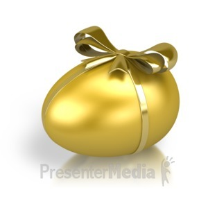 ID# 2725 - Gold Nest Egg Ribbon - Presentation Clipart