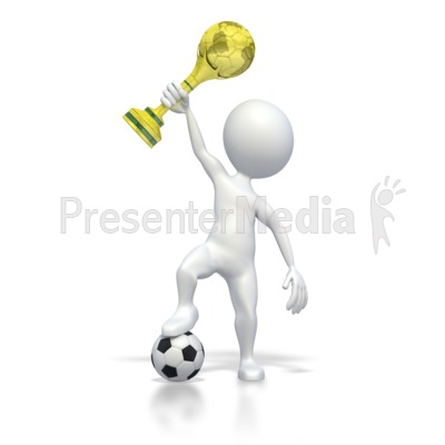Holding World Soccer Trophy PowerPoint Clip Art