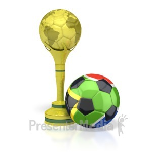 ID# 2740 - South Africa Soccer Ball with Trophy - Presentation Clipart