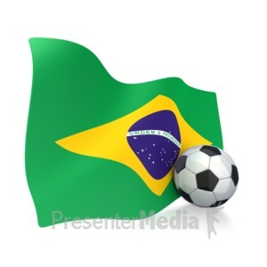 ID# 2747 - Brazil Flag With Soccer Ball - Presentation Clipart