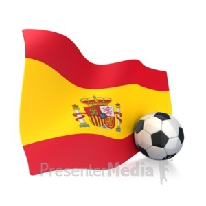 ID# 2749 - Spain Flag With Soccer Ball - Presentation Clipart