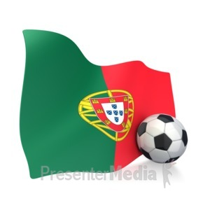 ID# 2750 - Portugal Flag With Soccer Ball - Presentation Clipart