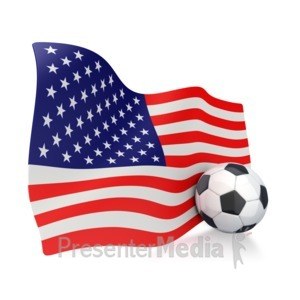 ID# 2752 - American Flag With Soccer Ball - Presentation Clipart