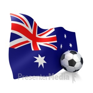 ID# 2756 - Australian Flag With Soccer Ball - Presentation Clipart