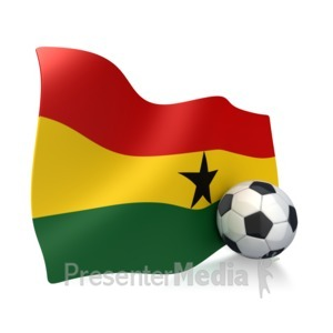 ID# 2758 - Ghana Flag With Soccer Ball - Presentation Clipart