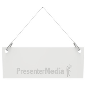 ID# 2800 - Hanging Blank Sign  - Presentation Clipart