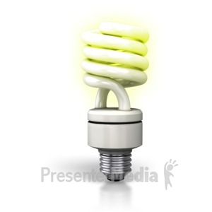 ID# 2802 - Cfl Light Bulb Lite Up - Presentation Clipart