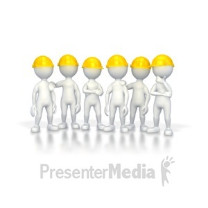 ID# 2806 - Workers with Hard Hats  - Presentation Clipart