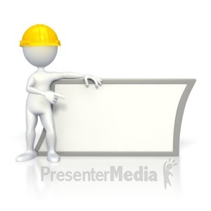 ID# 2809 - Worker Pointing at Sign - Presentation Clipart