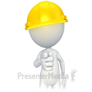 ID# 2811 - Figure with Hard Hat Pointing - Presentation Clipart