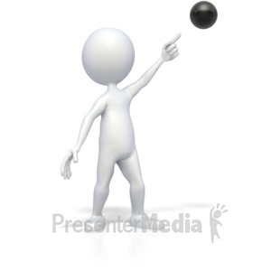 ID# 2826 - Stick Figure Pointing at Bullet Point - Presentation Clipart