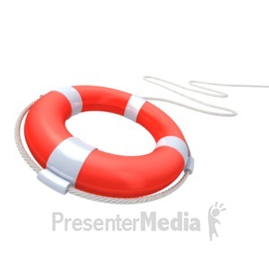 ID# 2835 - Red Life Buoy Rescue - Presentation Clipart