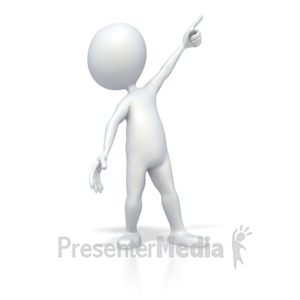 ID# 2844 - Stick Figure Point Up High - Presentation Clipart
