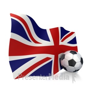 ID# 2850 - United Kingdom Flag With Soccer Ball - Presentation Clipart