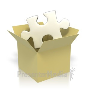 ID# 2864 - Puzzle Piece In Box  - Presentation Clipart