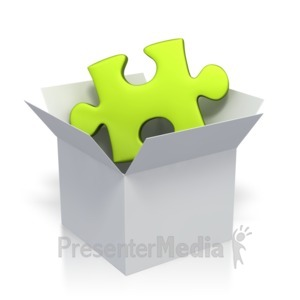 ID# 2866 - Green Puzzle Piece In Box  - Presentation Clipart