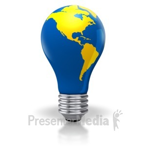 ID# 2886 - Light Bulb World Map North South America - Presentation Clipart