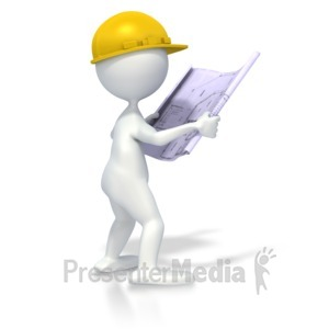 ID# 2897 - Figure With Blueprints - Presentation Clipart