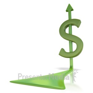 ID# 2918 - Dollar Sign Arrow  - Presentation Clipart