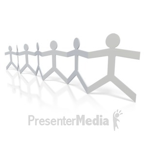 ID# 2946 - Paper Figures Hold Hands  - Presentation Clipart