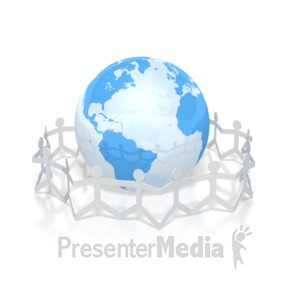 ID# 2952 - paper figures hold hands around globe - Presentation Clipart