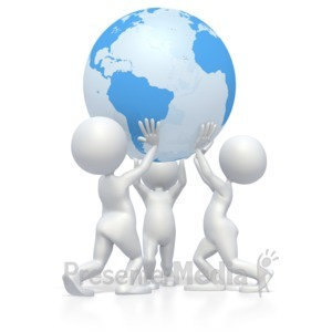 ID# 2960 - Teamwork Lift Earth  - Presentation Clipart