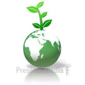 ID# 2967 - Green Earth Leaves Growing - Presentation Clipart