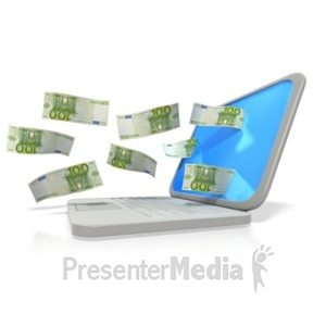 ID# 2980 - Money Through Laptop Euro  - Presentation Clipart