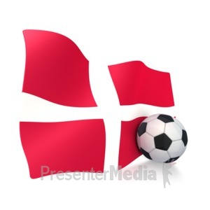 ID# 3006 - Denmark Flag With Soccer Ball - Presentation Clipart