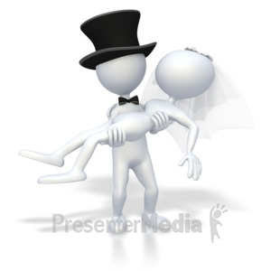 ID# 3062 - Groom Holding Bride  - Presentation Clipart