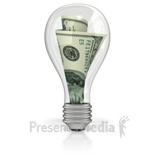 ID# 3084 - Money In Light Bulb - Presentation Clipart